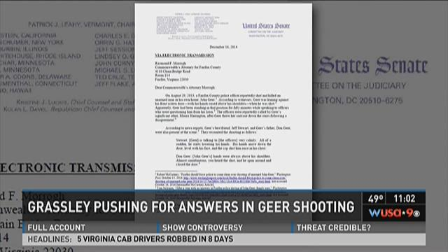 Grassley pushing for answers in Geer shooting