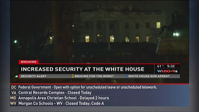 Police outside the White House on January 26.
