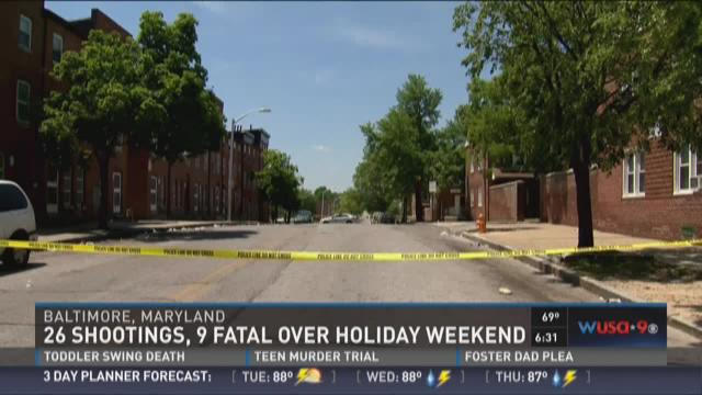 A crime scene in Baltimore from over the weekend
