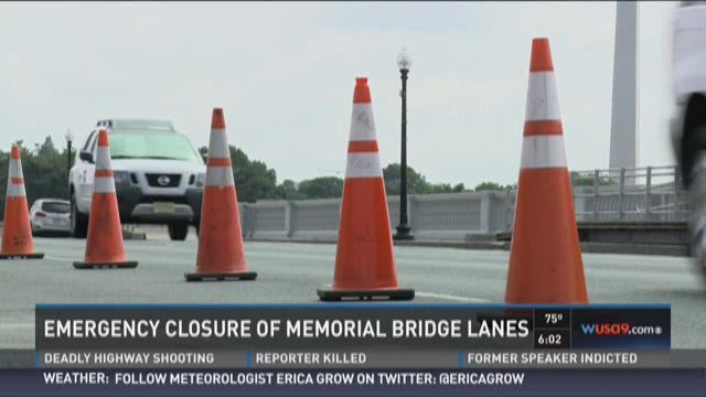 Lane closures on Arlington Memorial Bridge