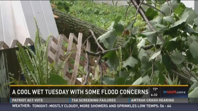 Cool wet Tuesday with some flooding concerns