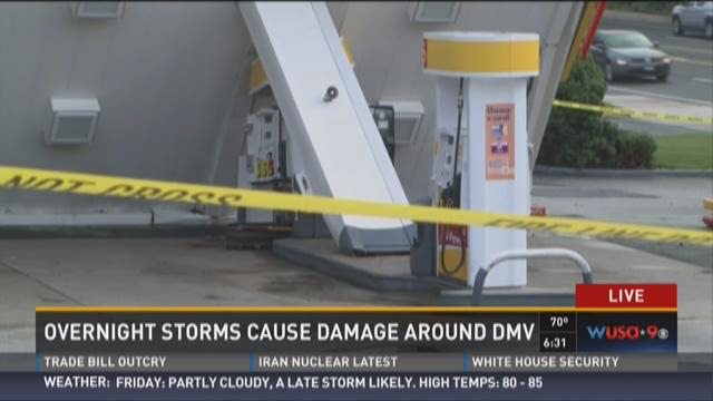 Gas station canopy knocked over in storm