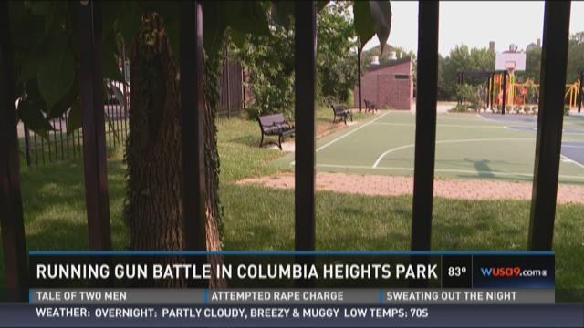 Running gun battle in Columbia Heights Park