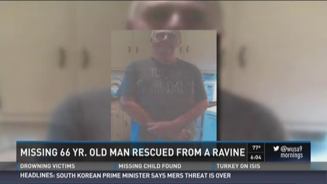 Missing 66-year-old man rescued from ravine