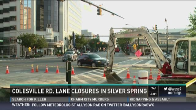Colesville Rd lane closures in Silver Spring