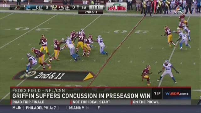 Redskins beat Lions, Griffin injured