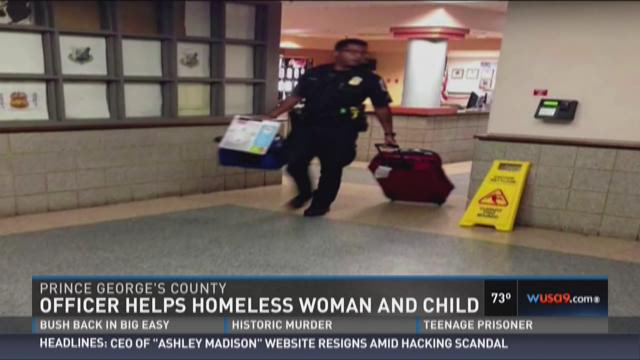 Officer helps homeless woman and child