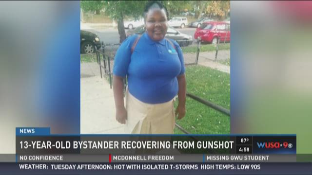 13-year-old bystander recovering from gunshot