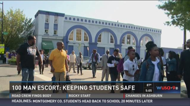 100 man escort: Keeping students safe