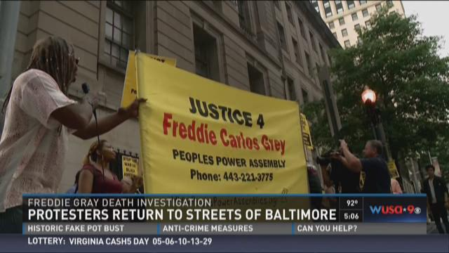 Protesters return to the streets of Baltimore