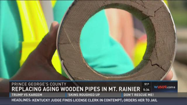 100-year-old wooden pipes being removed