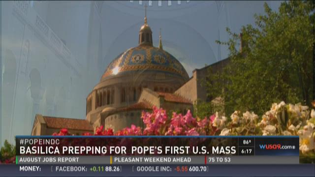 Basilica prepping for Pope's first US mass