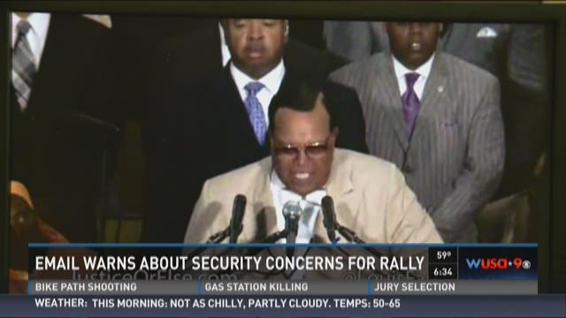 Email warns about security concerns for rally