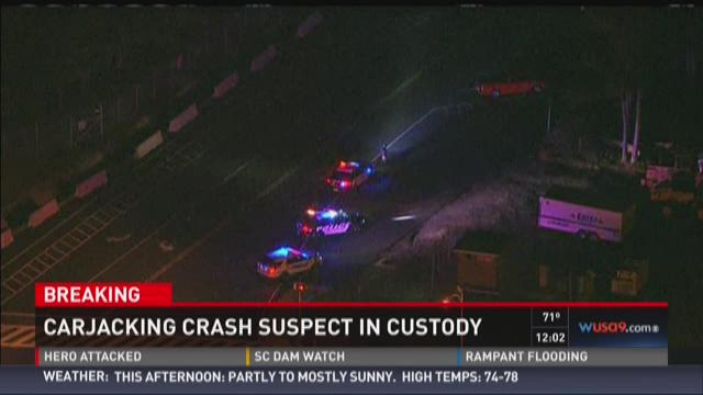 Carjacking crash suspect in custody