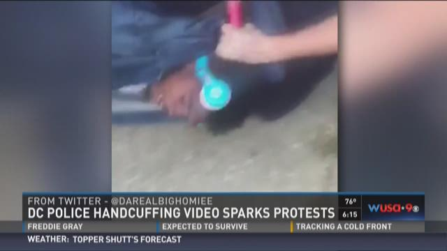 DC police handcuffing video sparks protests