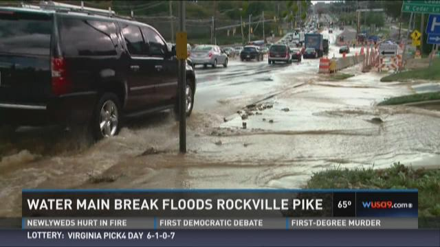Water main break floods Rockville Pike