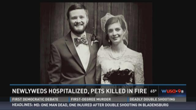 Newlyweds hospitalized, pets killed in fire